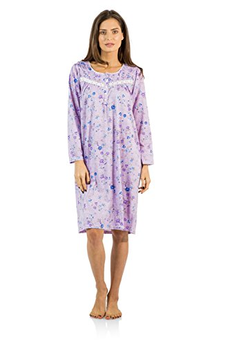 Gown Length Waltz (Casual Nights Women's Cotton Blend Long Sleeve Nightgown - Blossom Pintucked Purple - 4X)