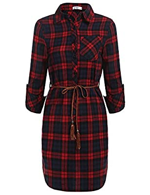 ANGVNS Women Long Sleeve Red Plaid Button Down Shirt Dress with Belt