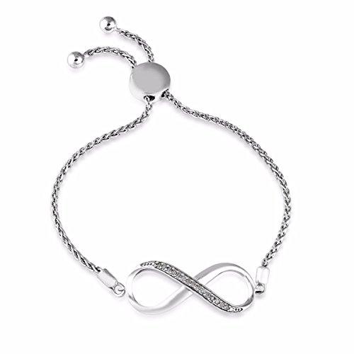 omega jewellery Sterling Silver Round Diamond Infinity Bolo Bracelets For Women (0.10 Ct), I2-Clarity (White Bracelet Omega)