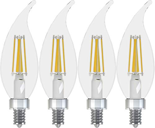 GE Lighting 43227 Relax HD LED (60-Watt Replacement), 500-Lumen Candle Bulb, Candelabra Base, Soft White Clear, 4-Pack, Title 20 Compliant