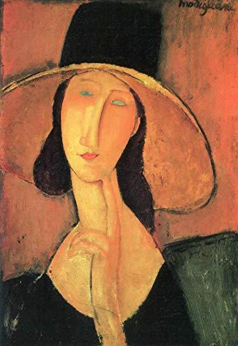 Jeanne Hebuterne (au grand chapeau) - Amedeo Modigliani - 90x130 - Tela em Canvas Para Quadro