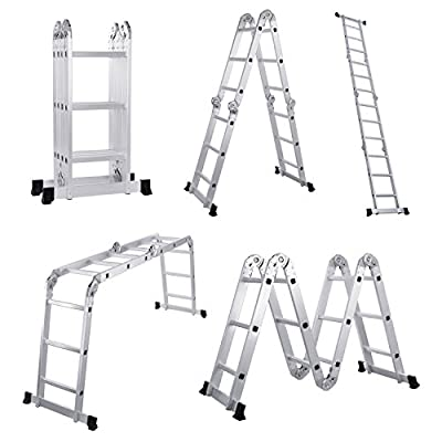 Lifewit 12.5ft Folding Ladder 3X4 Heavy Duty Multi Purpose Step Ladder Extendable Aluminum