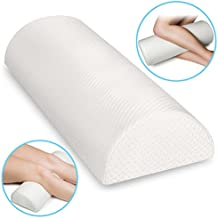Back Pain Relief Memory Foam Pillow - Half Moon Bolster Knee Pillow for Side, Back, Stomach Sleepers - Semi Roll Wedge Reduce Knee, Neck, Spine, Back, Hip, Ankle Stress - Washable Organic Cotton Cover