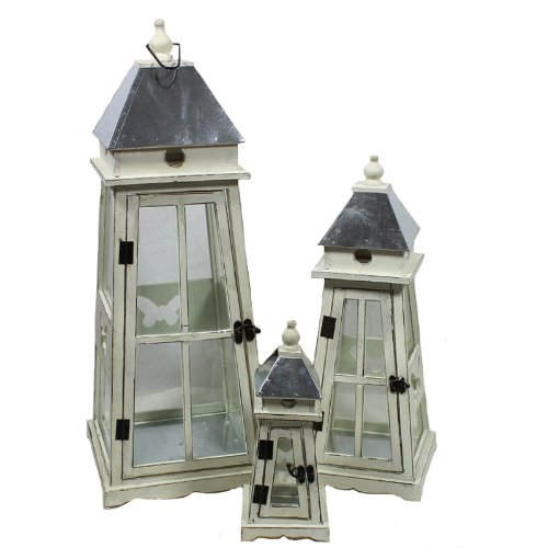 Essential Décor Entrada Collection 3-Piece Washed Wooden Lantern, 11.42 by 29.92-Inch, White (White Wooden Lanterns Decorative)