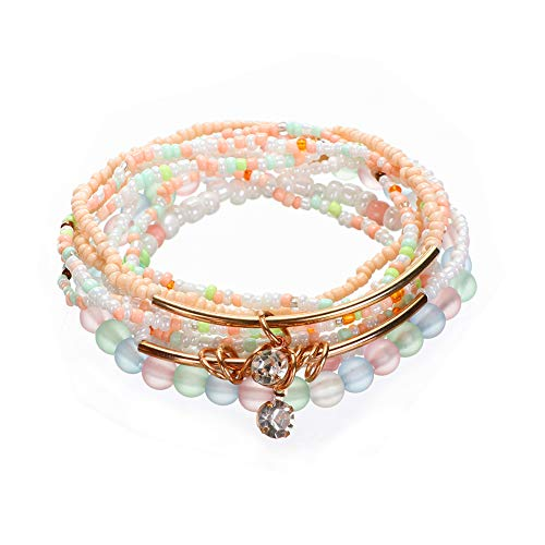 LOVFASHION Multilayer Bohemian Colorful Beaded Bracelet Crystal Pendant Charm Stretch Beach Stack Bangle Bracelet Set 7 Colors for Women Jewelry