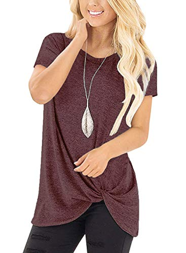 - Bloggerlove Women Stylish Tops Cotton Loose Fitting Blouse Short Sleeve V Neck T-Shirt Wine Red M