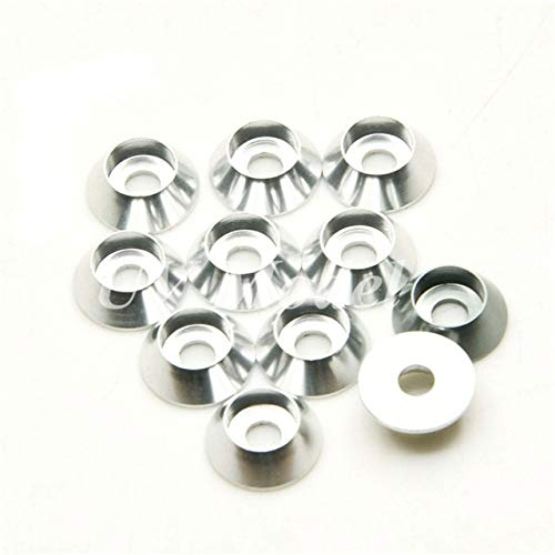 (Part & Accessories 10Pcs RC Car Accessories M3 3mm Alloy Cup Head Screw Countersunk Washer Gasket Pads For 1:10 Rock Crawlers CC01 D90 SCX10 - (Color: Silver))