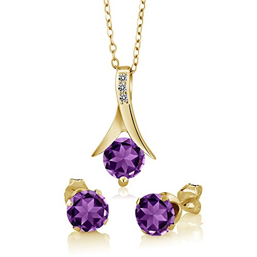 - 2.15 Ct Purple Amethyst White Diamond 18K Yellow Gold Plated Silver Jewelry Set