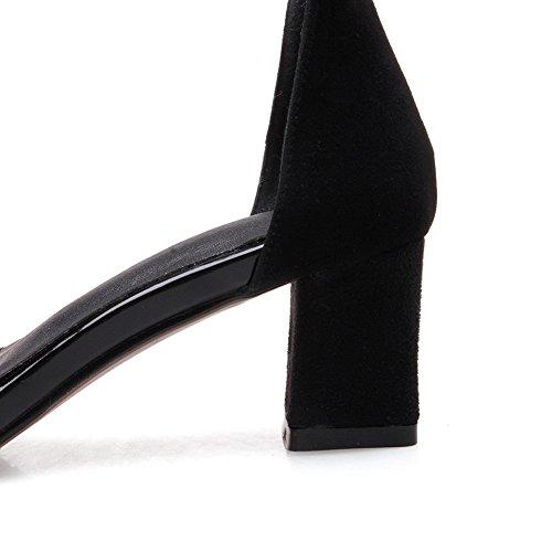 de de peep Tacones uretano SLC03675 de AdeeSu Sandalias toe para tacón Negro Hebillas metal gruesos mujer RnpqF
