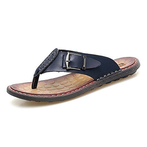 da Dimensione casual morbidi vera piatti Sandali pelle uomo in 38 2018 spiaggia Pantofole Infradito Infradito Mens antiscivolo spiaggia shoes Nero da EU Color da tAvtq0x1T