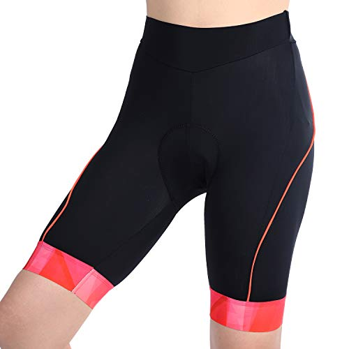 beroy Womens 3D Gel Padded Bike Shorts,Cycling Shorts with One Pocket(S Orange)