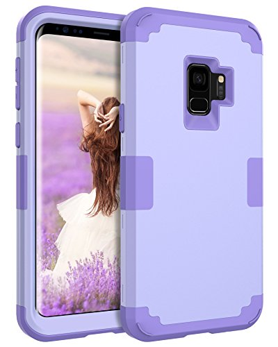BENTOBEN Galaxy S9 Case, Samsung Galaxy S9 Case, S9 Slim Hybrid 3 in 1 Hard PC Soft Silicone Rubber Bumper Heavy Duty Shockproof Full Body Protective Cases Cover for Samsung Galaxy S9 2018, Purple