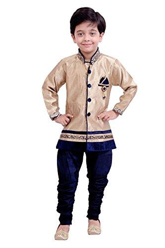 Boys Sherwani Kurta Pyjama Kids Wear by Arshia Fashions - 8 - 11 Years - Full Sleeves - Party Wear - Beige Blue