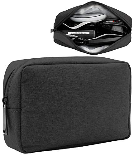 BOONA Waterproof Universal Electronic Accessories Travel Organizer Bag - Multifunction Gadgets Bag Pouch Carry Power Bank,Charging Cords,Chargers,Mouse,USB Cable,Earphones (Large,Black) ()