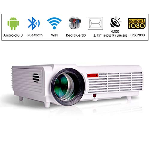 Gzunelic 4200 Lumens LCD Video Smart Projector 1080P LED Full HD Home Theater Proyector Built in Andoroid OS Support WiFi Ethernet Bluetooth Wireless Mirror to Smart Phones 2 HDMI RJ-45 2 USB AV VGA