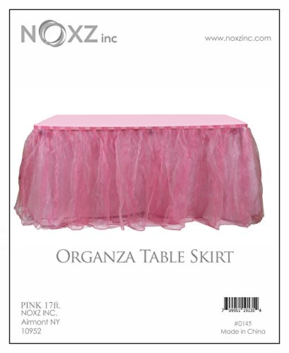NOXZ Inc Organza Table Skirt for Every Occasions, Pink - 17 Ft. by NOXZ Inc (Image #1)