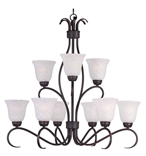 Maxim 10128ICOI Basix 9-Light Chandelier, Oil Rubbed Bronze Finish, Ice Glass, MB Incandescent Incandescent Bulb , 60W Max., Dry Safety Rating, Standard Dimmable, Opal Glass Shade Material, Rated Lumens ()