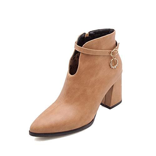 AalarDom Women's High-Heels Solid Pointed-Toe Pu Zipper Boots,