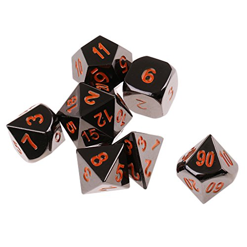 Fityle 7Pcs Table Board Game D4-D20 Dice RPG Polyhedral Digital Orange for Role Play by Fityle
