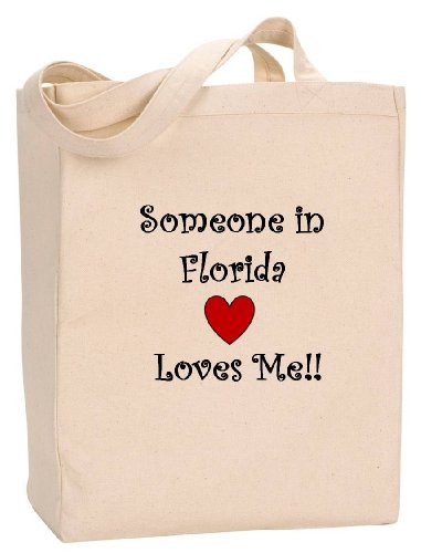 (SOMEONE IN FLORIDA LOVES ME - State Series - Natural Canvas Tote Bag with Gusset)