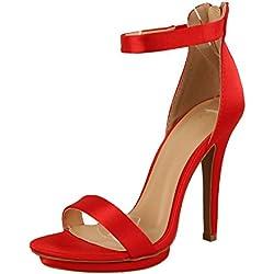 Wild Diva Amy-01 Womens Open Toe Ankle Strap High Stiletto Heel Platform Pump Sandal,8.5 B(M) US,Red Satin