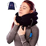 Pinched Nerve Neck Stretcher Cervical Traction Device for Home Pain Treatment | Inflatable Spinal Decompresion Collar Unit Muscle Strain Injury Relief | Herniated Disc Problems Remedy Kit