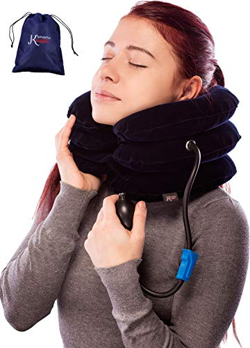 Integral Strain Relief - Pinched Nerve Neck Stretcher Cervical Traction Device for Home Pain Treatment | Inflatable Spinal Decompresion Collar Unit Muscle Strain Injury Relief | Herniated Disc Problems Remedy Kit by K'Smarts