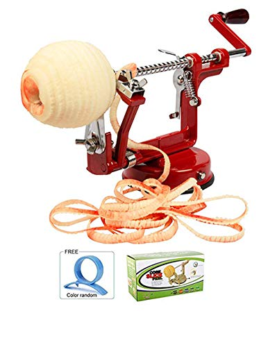 Apple Machine 3 In 1 Peeler,Corer And Slicer,With Orange Peeling Device,Multi-functional Peeled To Nuclear Slices Apple Peeling Machine With Vacuum Base,Suitable For Apples,Potatoes,Pears(Red) (red) by Lovelye