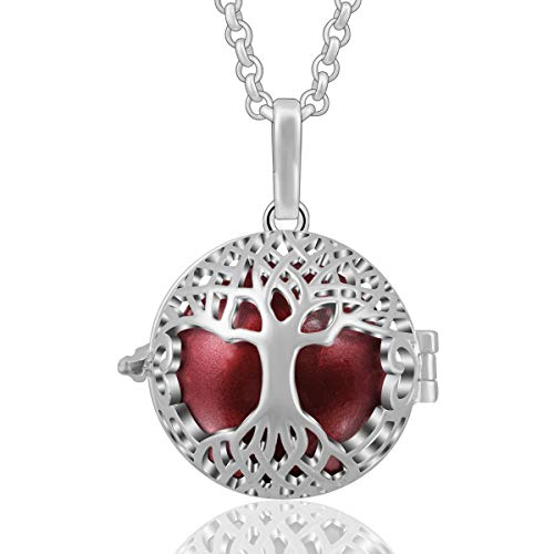 (AEONSLOVE Silver Celtic Tree of Life Melody Harmony Ball Chime Bell Pendant Necklaces for Women Gifts (Wine Red) )