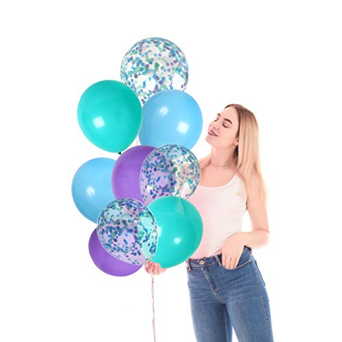 Turquoise Blue Purple Latex Balloons and Clear Confetti Under The Sea Party Kit for Mermaid Birthday Baby Shower Frozen Party Decorations (42 Pack)