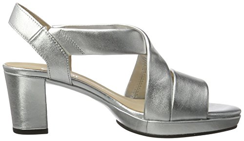 Gabor Shoes Comfort, Sandalias de Tacón Para Mujer Plateado (A.OBL 10)