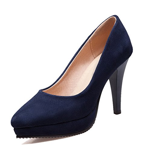 Court Pull Shoes Women's High Solid Heels On Blue Closed WeenFashion Toe Frosted 5zBqA4wnn