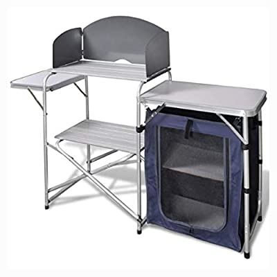 K&A Company Camp Furniture, Foldable Camping Kitchen Unit with Windshield Aluminum