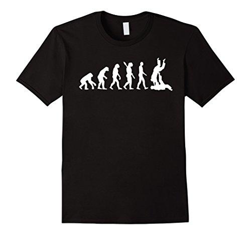 Mens Brazilian Jiu Jitsu T-Shirt - BJJ Evolution Judo Throw Tee Large Black