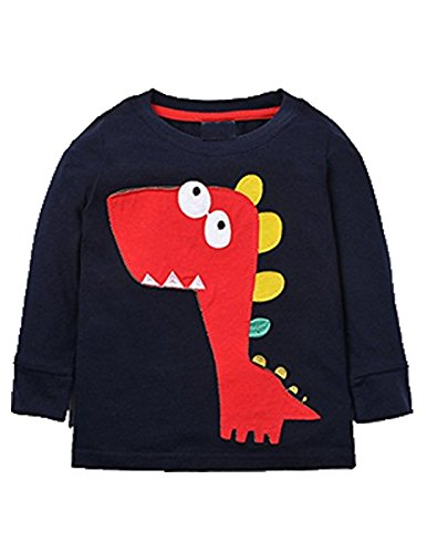 Mengmeng Toddler Boys Dinosaur Long Sleeve T Shirts Top Tee Size 18M-6T