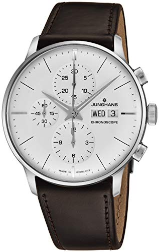- Junghans Meister Chronoscope Mens Day Date Automatic Chronograph Watch - 40mm Analog Silver Face with Luminous Hands - Stainless Steel Burgundy Leather Band Luxury Watch Made in Germany 027/4120.01