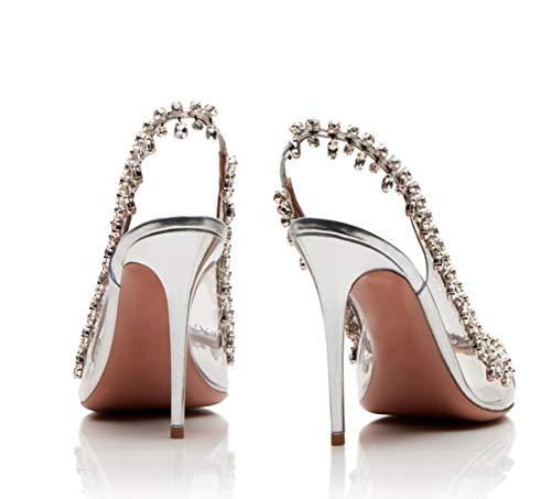 Habilles Grande Avec Chane Des Shiney Strass Peep Argent Chaussures Mariage Toe Surdimensionn Taille De q6nFAxg