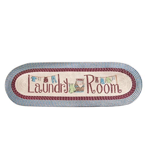 Collections Etc Braided Laundry Room Floor Runner Rug with Blue and Burgundy Border, 20