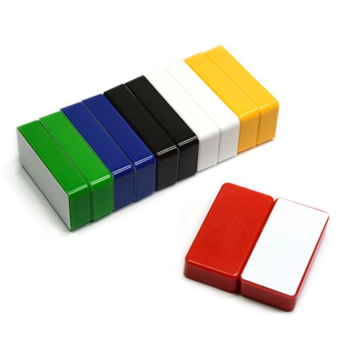 12 Count Multi-Color Magnetic Whiteboard Magnets - Can Hold up to 37 Pages on Steel Cabinet - Domino Size Good for Magnetic Message Board and Fridges (Different Magnets)