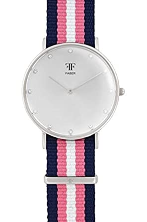 Faber Damen-Armbanduhr Analog Quarz Textilband F406SL