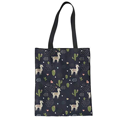Mumeson Alpaca and Cacti Print Linen Tote Travel Beach Bag Ladies Daily Packs School Bookbag ()