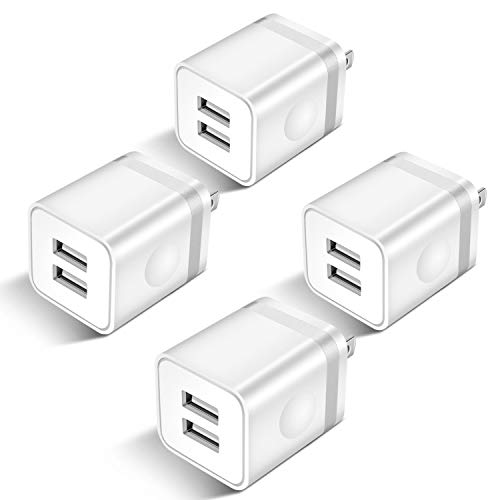 STELECH USB Wall Charger, 4-Pack 2.1Amp 2-Port USB Plug Cube Power Adapter Charger Block Compatible with Phone Xs Max/Xs/XR/X/8/7/6 Plus/5S, Samsung, LG, Moto, Nokia, Kindle, Android Phone -Upgraded