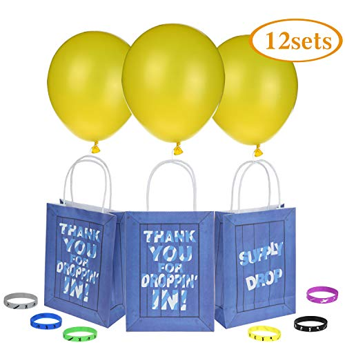 Gaming Party Supply Goody Bags Favors Drop With Yellow Latex Balloons and Gamer Bracelets For Kids Adults Birthday Party Gamer Themed Party Supplies Favors 12 Pack