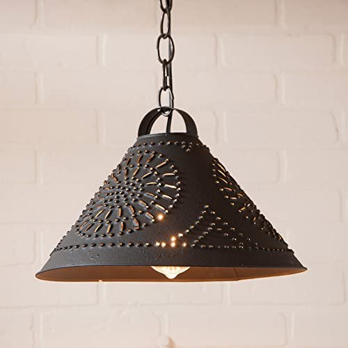 Irvin s Country Tinware 924CBK – Hitchcock Large Punched Tin Pendant with Textured Black Finish