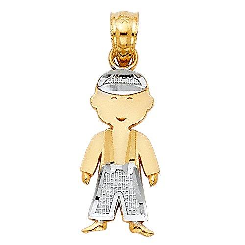 - 14k Two Tone Gold Boy Charm Pendant