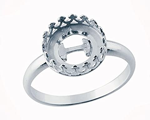 Sterling Silver Ring Base, 10mm Round Gallery Wire Bezel, Ready to Set - size 7 - Round Sterling Silver Wire Basket