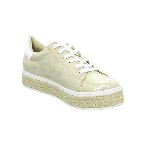 s.Oliver Damenschuhe 5-5-23626-28 Modischer Damen Freizeitschuh, Sneaker, Schnürhalbschuh in Mettalic Optik Gold