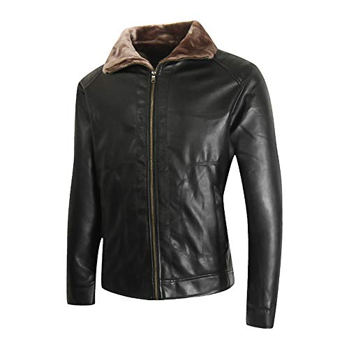 - Fashion Men's Faux Leather Jacket Pocket Zipper Thermal Motorcycle Bomber Shearling Leather Jacket Top Coat G-Real