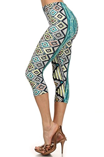 ALWAYS Womens Juniors Stretch Capri Tribal Floral Stripe Aztec Printed Leggings