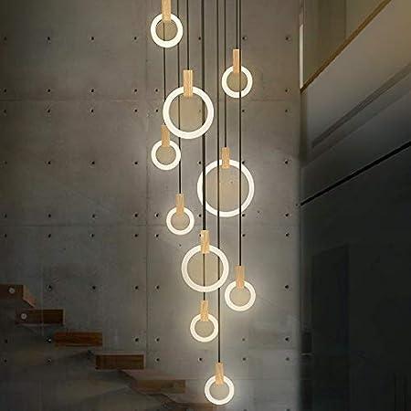 LISHUHUA Luz de Techo De Techo Moderna Escalera iluminación de la lámpara de la Sala nórdica lámparas Pendientes de Dormitorio Anillos de acrílico Accesorios de Madera Que cuelga Luces Araña de Luces:
